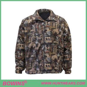 Design custom men's hunter warm windproof camo hunting jacket